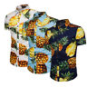 Mens Pineapple Print Shirt Tops Casual Tees Short Sleeve Hawaiian Beach Shirt CL