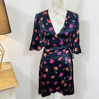 Bec & Bridge Womens Dahlia Wrap Dress Floral Satin Short Sleeve Size 8 NWT $220