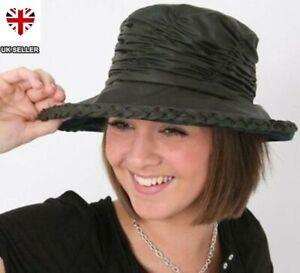 LADIES WAX HAT WAXED COUNTRY RAIN SHOWERPROOF HAT OLIVE  BROWN FREE POSTAGE