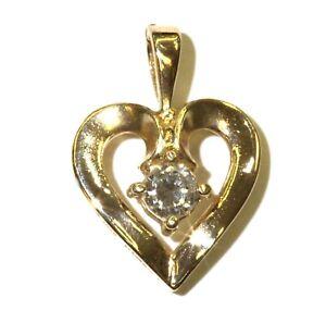 14k yellow gold .24ct SI3 H diamond heart pendant 2.3g estate vintage
