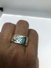 Vintage Southwestern Bear Turquoise Inlay Ring Mens Size 12.5