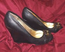 Steve Madden Solid Black Leather Wedge Heel Buckle Shoes 6.5 M Trea 6.5M