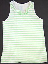 Lands' End Kids Girls' Ruffled Tee Sz. M (10-12) Green White Stripe Sleeveless