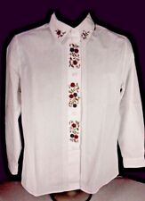 JOS.A.BANK WOMEN BLOUSE SIZE PETITE 8 WHITE BUTTON DOWN LONG SLEEVE EMBROIDERED