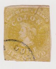 (Stf-85) 1853 Chile 1c yellow Columbus imperfed