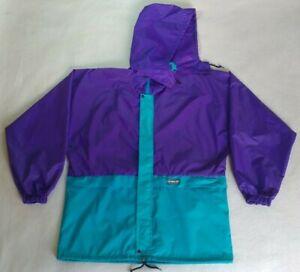 Vintage 90s K-Way Rain Jacket Nylon Windbreaker Purple Hooded Full Zip Size L