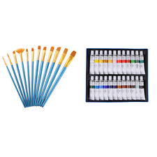 Artist 24 Colors Tube Acrylic Paints Pigment and 12pcs Painting Brushes Kit