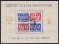 Alliierte Besetzung UZd1 4er Block mit SST Hannover Messe 1948 auf Spendenblatt
