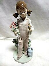 "Lladro Figurine Girl w Flowers and Bird #5217 Spring 7"" Ct"