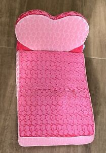 """Genuine Build-A-Bear Fold-Up Bed Couch Pink Heart Plush - 20"""" x 12""""  EUC"""