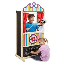 STURDY Wooden Puppet Theater Stand w/ Chalk Board + Clock Kids Play Learning Fun