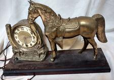 Carmody Electric Art Deco 1930s Horse Clock Bronze Statue Figural Horseshow VTG