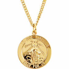 """24K Gold Plated Sterling Silver 22mm Round St. Jude Medal 24"""" Necklace"""