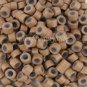 200 4.5mm Auburn Brown Silicone Micro Rings Links For I Bonded Hair Extensions