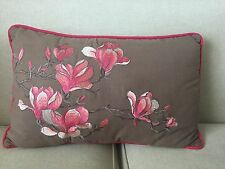 Target Fuschia Beautifully Embroidered Flowers & Butterfly Pillow, Piping Around