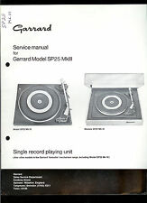 Rare Original Factory Garrard SP25MkIII Turntable Record Player Service Manual