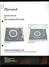 Rare Original Factory Garrard SP25MkIII Turntable Record Player Service Manual