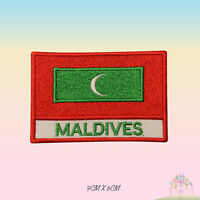 Maldives National Flag With Name Embroidered Iron On Patch Sew On Badge Applique