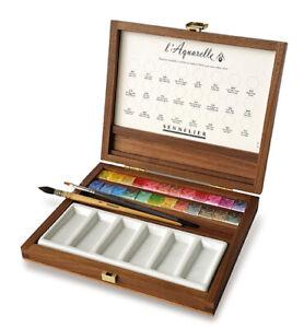Sennelier Luxury Artist's Watercolour Set 24 Half Pans, 2 brushes in Wooden Box