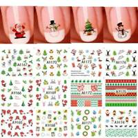 12x Christmas Nail Art Water Decals Transfers Snowflakes Snowman Gel Polish