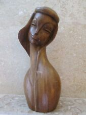 "Mid Century Modern Large Wood Sculpture Woman Head Bust Vintage SE Asia Art 18"""