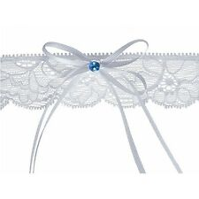 White Lace Garter With Bow and Blue Crystal Bridal Decor - Xp017