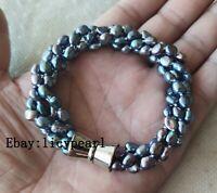 Twist Süßwasser Perle Armband, 4 Stränge 4-6mm schwarz Barock Perle Armband