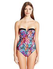 [92 70] Jessica Simpson Pink Fireworks Bandeau One Piece Swimsuit Sz XL XLarge