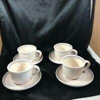 Set of 4 Pfaltzgraff AURA Pink Blue Ring Cups Saucers 8 pc