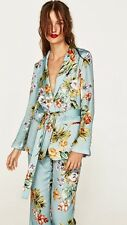 Zara New Floral Belted Kimono Blazer Jacket Size L 12 Genuine Zara Celebrities