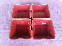"""Pottery Barn Square Rice Noodle Bowl Paprika Red Accents 6 18"""" Set of 4"""