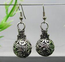 tibetan silver round hollow ball dangle  charm earrings free ship