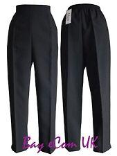 Ladies Half Elastic Straight Leg Trousers Pants Work UK Size 12 to 24 UK Size 14 Black 27 in