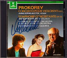 Anne-Sophie MUTTER Signed PROKOFIEV Violin Cello Concerto ROSTROPOVICH OZAWA CD