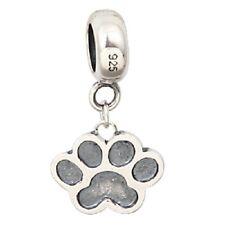 HEART PAW PRINT DOG CAT 925 sterling silver charm bead fits European bracelet