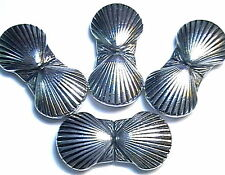 "4 - 1 3/8"" 2 HOLE SLIDER BEADS DOUBLE SEA SHELL, CLAM SHELL, MARINE LIFE SPACERS"