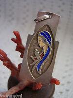 Ciondolo anni 70 MADONNINA in argento 800 e smalti