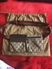 Auténtico Vintage GUCCI GG Lona Marrón Cintura Cinturón De Cadera Riñonera Fanny Pack