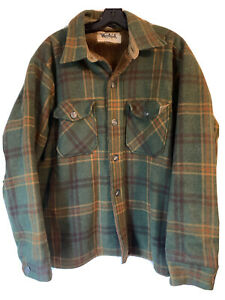 Vintage Woolrich Green Plaid Sherpa Lined Shirt Jacket Button Wool Size XL Rare