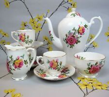 Superb vintage Roslyn COFFEE SET for two with a coffee pot. Floral ~ pink roses.