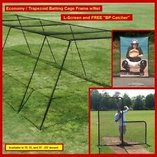 """35' Trapezoid Baseball Batting Cage Frame w/Net, L-Screen and FREE """"BP Catcher"""""""