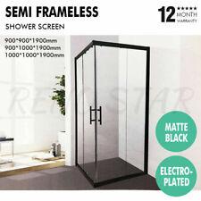 Semi Frameless Corner Shower Screen Matt Black Electroplated for Bathroom