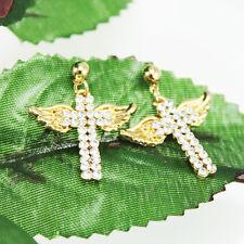 fashion lovely Plating 14 k inlay zircon wings of an angel cross Stud earrings