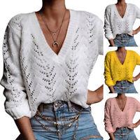 Damen Pullover Pulli V-Ausschnitt Sweater Strickpullover Langarm Bluse Oberteil