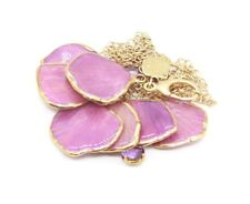 "Floral Flower Purple Pendant 26"" Necklace with Diamonds"