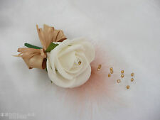 Wedding Flower Buttonhole Corsage Ivory & Gold  PIN ON