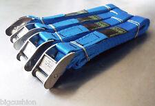 4-pack of 3.0m TOUGH Cam Buckle Straps Blue - Trailer Van Tie-down Lashing Strap