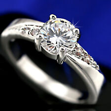 9K WHITE GOLD GF 1CT SOLITAIRE LAB DIAMOND ENGAGEMENT WEDDING WOMENS DRESS RING