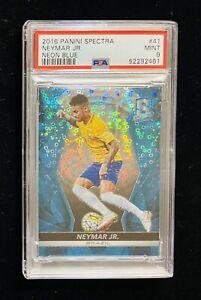 2016 Panini Spectra Neymar Jr. Neon Blue Disco Prizm Card #16/75 PSA 9