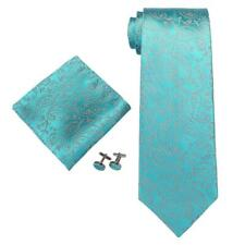 "Landisun SILK Paisleys Mens Tie Set: 3.25""Wx59""L, 13c Light Blue"